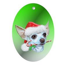 Chihuahua Christmas Oval Ornament