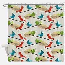 Mid Century Birds Shower Curtain