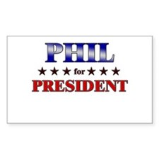 PHIL for president Rectangle Decal