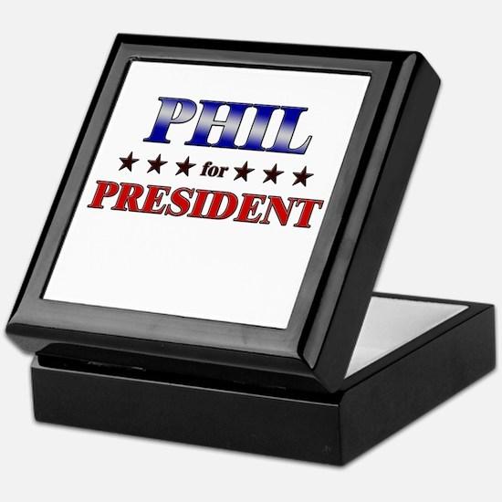 PHIL for president Keepsake Box