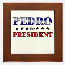 PEDRO for president Framed Tile