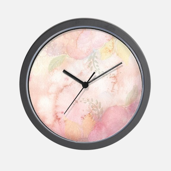 Watercolor Pink Floral Background Wall Clock