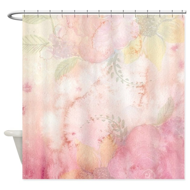 Watercolor Pink Floral Background Shower Curtain by Admin_CP79877276