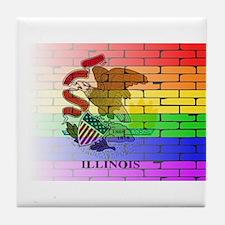 Rainbow Wall Illinois Tile Coaster
