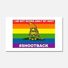 Rainbow Gadsden Shot-Back Car Magnet 20 x 12
