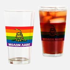 Rainbow Gadsden Labe Drinking Glass