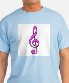 Retro Hot Pink Treble Clef T-Shirt
