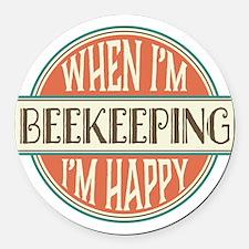 happy beekeeper Round Car Magnet