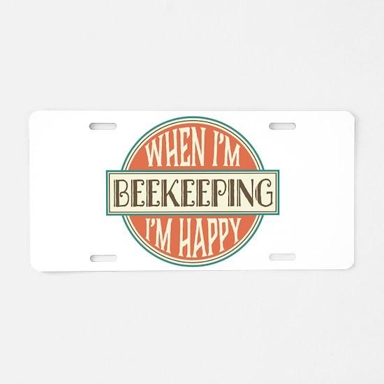 happy beekeeper Aluminum License Plate