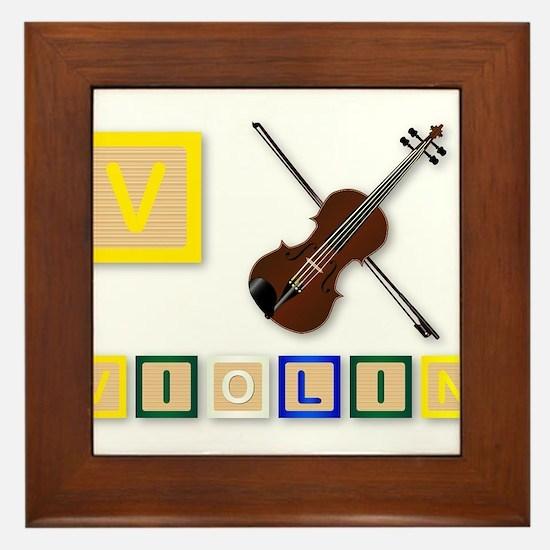 V Is For Violin Framed Tile