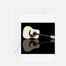Pale Acoustic Guitar Reflection Greeting Cards