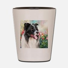 Border Collie Painting Shot Glass