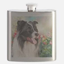 Border Collie Painting Flask