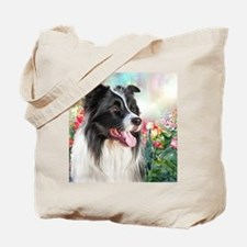 Border Collie Painting Tote Bag