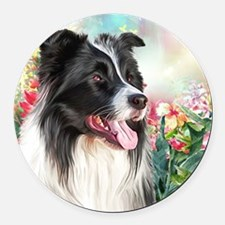 Border Collie Painting Round Car Magnet