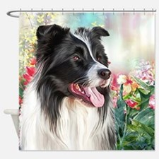 Border Collie Painting Shower Curtain