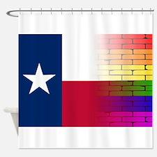 Gay Rainbow Wall Texan Flag Shower Curtain
