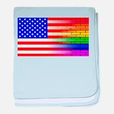 Gay Rainbow Wall American Flag baby blanket