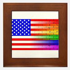 Gay Rainbow Wall American Flag Framed Tile