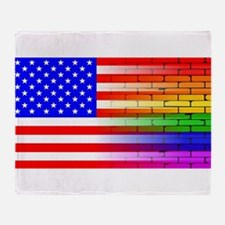 Gay Rainbow Wall American Flag Throw Blanket