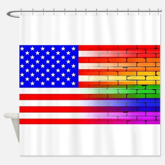 Gay Rainbow Wall American Flag Shower Curtain