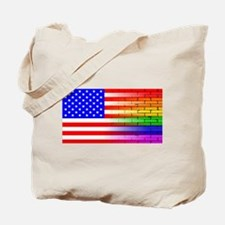 Gay Rainbow Wall American Flag Tote Bag