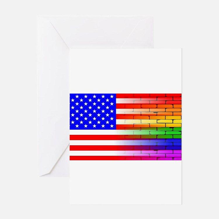 Gay Rainbow Wall American Flag Greeting Cards