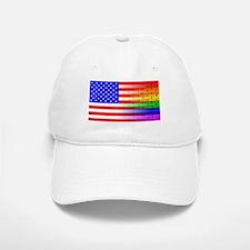 Gay Rainbow Wall American Flag Hat