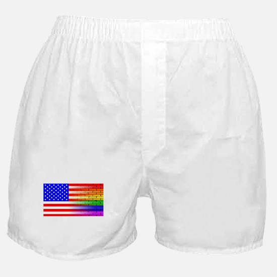 Gay Rainbow Wall American Flag Boxer Shorts
