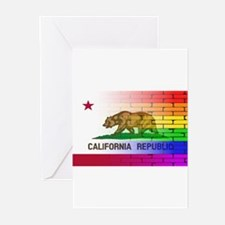 Gay Rainbow Wall California Flag Greeting Cards