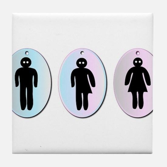 Three Toilet Signs Tile Coaster
