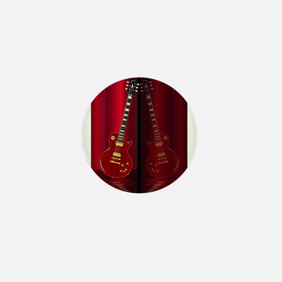 Red Guitar Reflections Mini Button