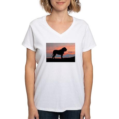 Mastiff Sunset Women's V-Neck T-Shirt