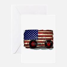 Vintage American Flag Bike Greeting Cards