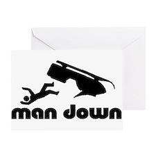 man down snowmobile Greeting Card