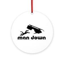 man down snowmobile Ornament (Round)