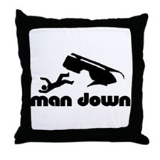 man down snowmobile Throw Pillow