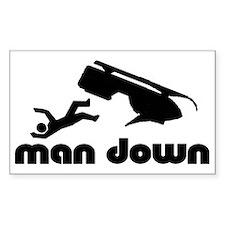 man down snowmobile Rectangle Decal