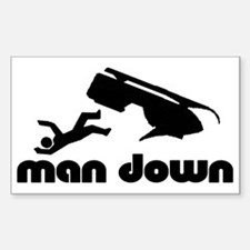 man down snowmobile Rectangle Decal