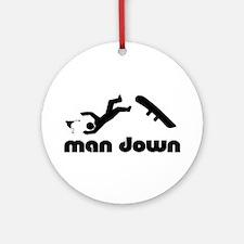 man down snowboard Ornament (Round)
