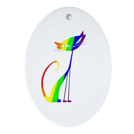 Rainbow Kitty #2 - Oval Ornament