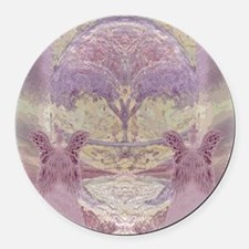 Two Angels in Pink Round Car Magnet