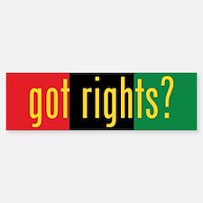 got rights? Red, Black & Green Bumper Bumper Bumper Sticker