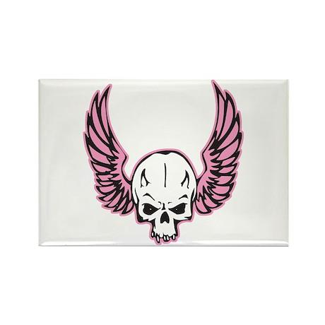 Pink Winged Biker Skull Rectangle Magnet (10 pack)