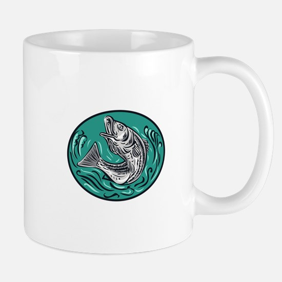 Rockfish Jumping Color Oval Drawing Mugs