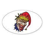 Laughing Evil Grin Clown Oval Sticker