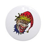 Laughing Evil Grin Clown Ornament (Round)