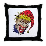 Laughing Evil Grin Clown Throw Pillow
