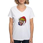 Laughing Evil Grin Clown Women's V-Neck T-Shirt
