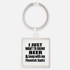 Hang With My Finnish Spitz Square Keychain